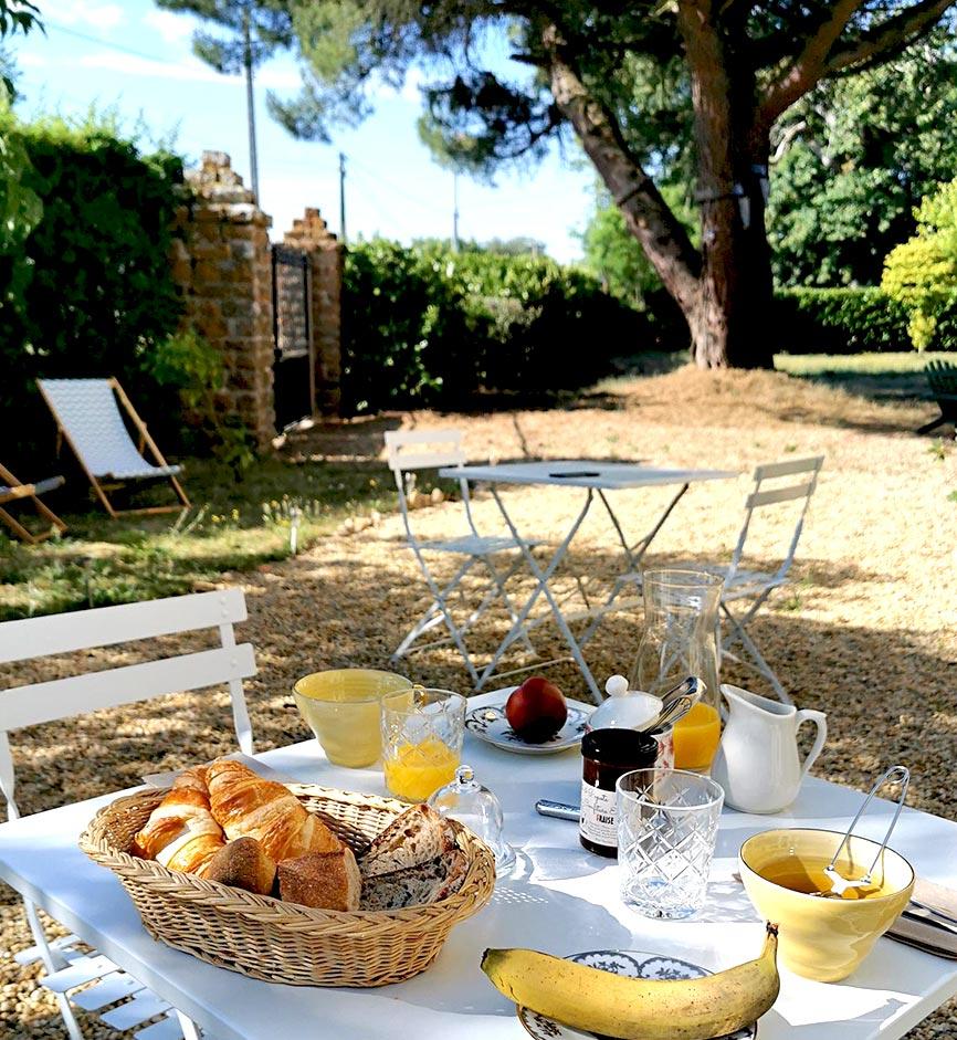 Petit déjeuner - Chambres d'hôtes Anjou Val de Loire - Quatre chats sous un pin