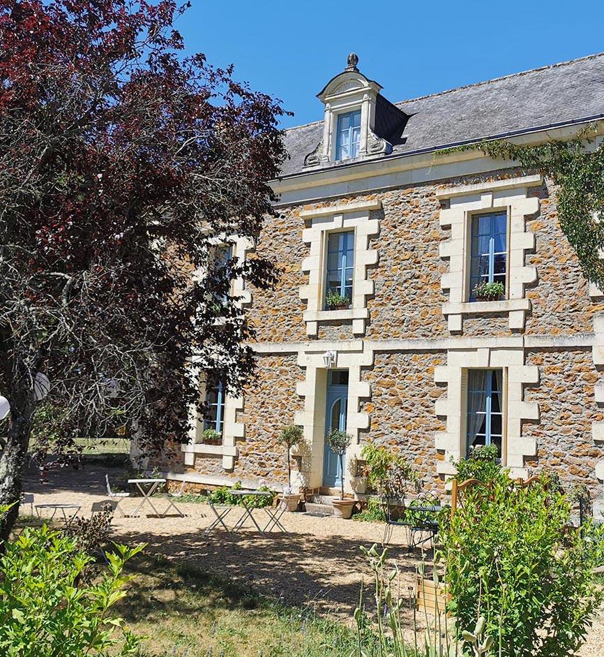 Extérieur de la Chambres d'hôtes Anjou Val de Loire - Quatre chats sous un pin